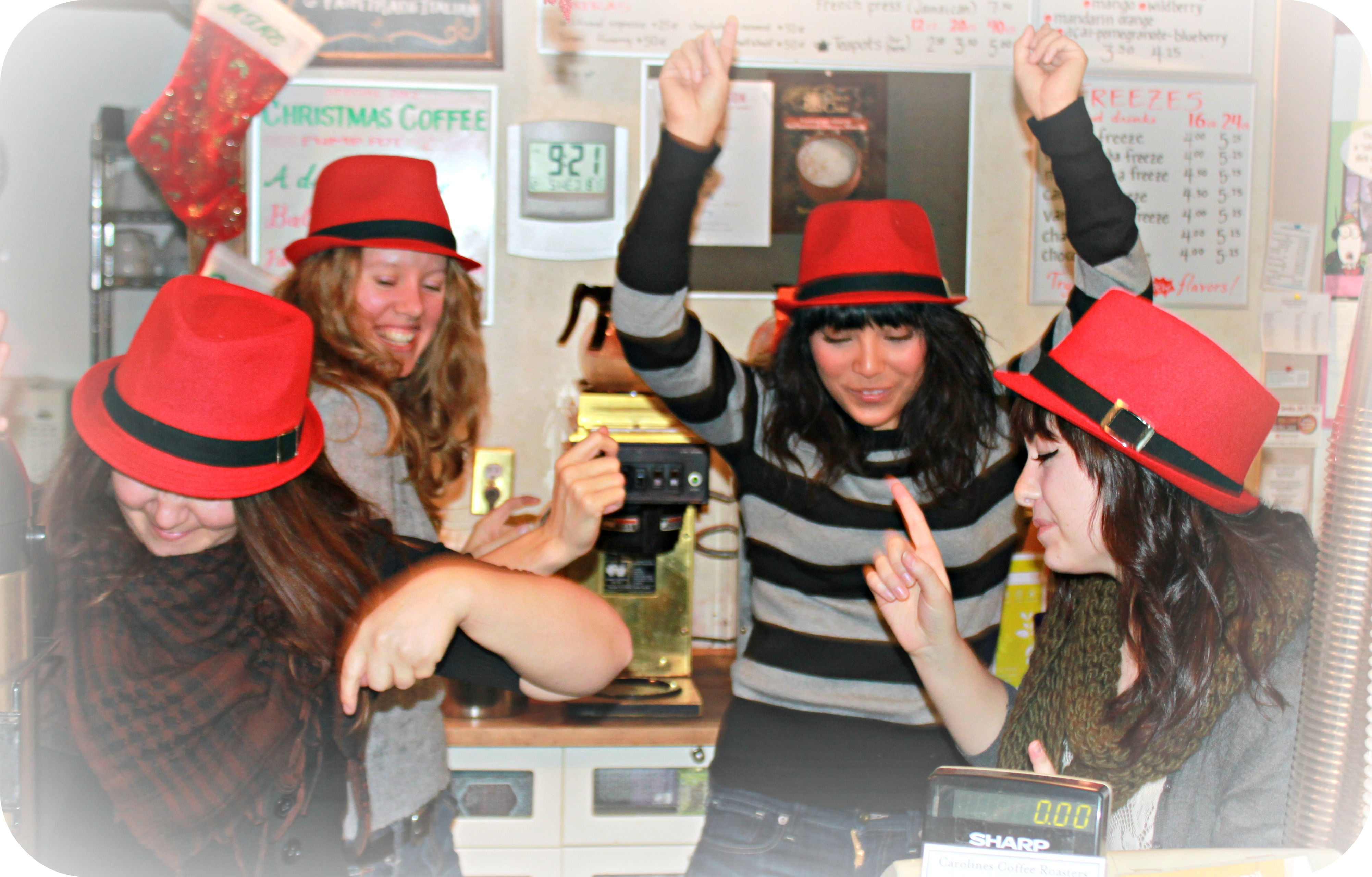 It was red fedora day around here on Wednesday--thanks to a customer who gifted the hats!