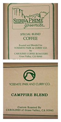 A bit of Carolines history: labels from the days when we provided coffee to Yosemite.